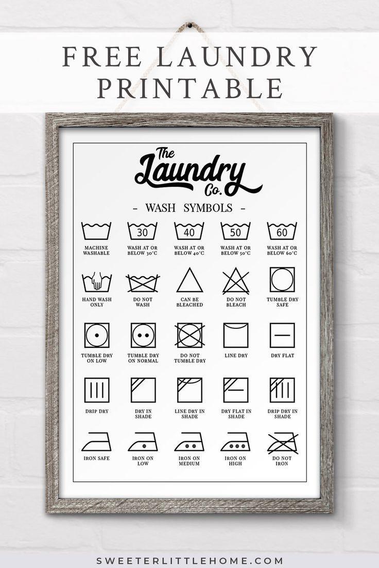 Schauen Sie sich diese frei bedruckbare Wäschesymbole an, die in perfekter