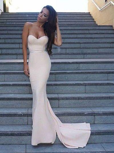 Decent Mermaid Sweetheart Sweep Train Ivory Prom Dress