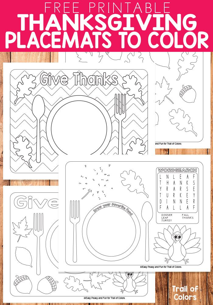 Keep the little ones busy by printing these free printable Thanksgiving placemats to color, we have a lovely set both in letter and legal size so they ...