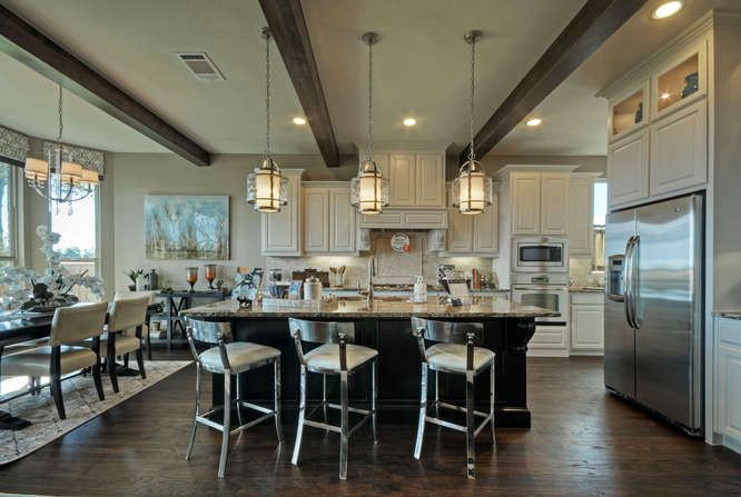 Open Concept Kitchen And Family Room Beams Add Interest