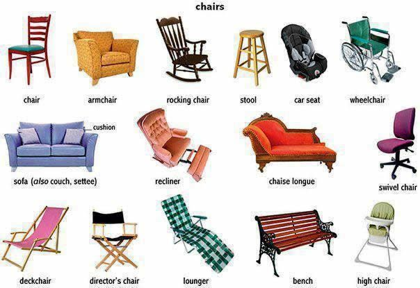 Easy Pace Learning|Different Types of Chairs Vocabulary|This webpage offers a printable lesson, including the infographic above and chair vocabulary used in context, to teach newcomer or low English proficiency ELLs the finer points of furniture vocabulary in English.