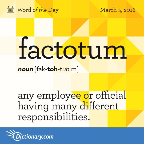 Dictionary.com's Word of the Day - factotum - any employee or official having many different responsibilities.