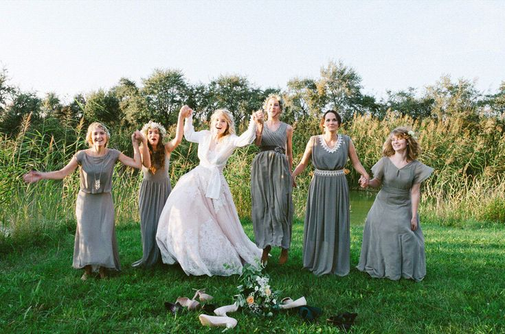 Girls jumping at wedding
