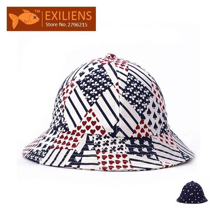 [EXILIENS] 2017 Fashion Brand Bucket Hats Cotton poker Casual Fisherman Caps Hip-hop Hats For Men Women Lovely Mix Colors Hat