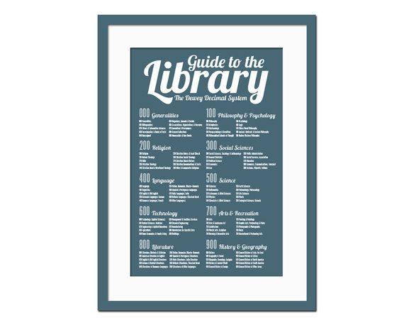 Dewey Decimal System - Art Print  - Library Poster - Poster for Schools - Book Lover - Librarian Gift - Typography Poster - 12 x 18 Wall Art...