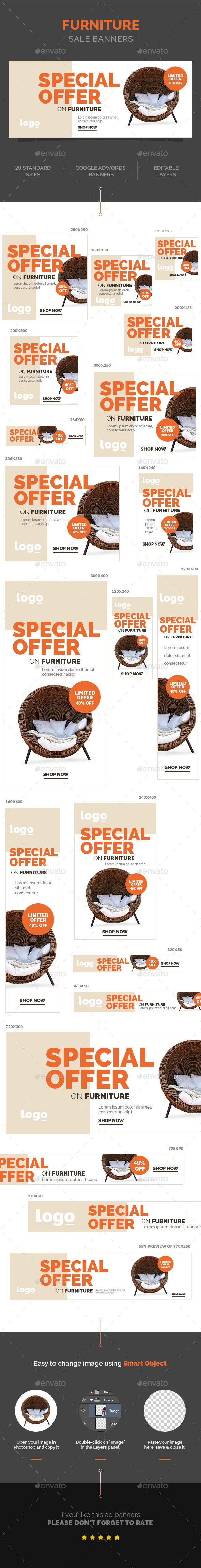 Furniture Sale Banners Template #design Download: http://graphicriver.net/item/furniture-sale-banners/10799036?ref=ksioks