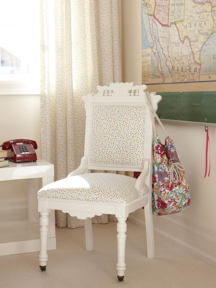Sarah revived another Eastlake-style piece to use for this room's desk chair; she added white paint and upholstered it with the same polka-dotted fabric.