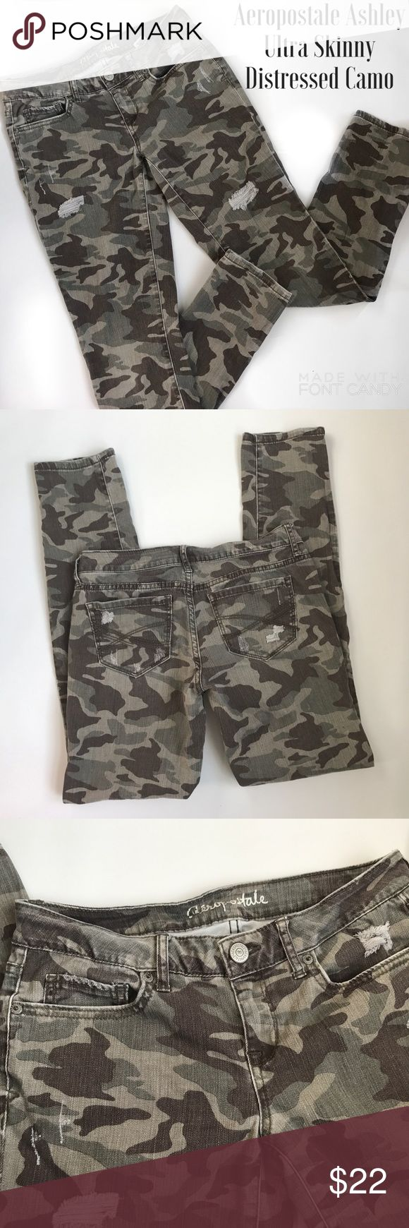 """Aero Ashley Ultra Skinny Distressed Camo Jeans Cute Camo jeans with just the right distressed effect, perfect with combat boots or flats or flip flops 💕 Size 4 they measures 15-15.5"""" across waist laying flat with a 30"""" inseam and 7"""" rise...bundle to save more plus ⚡️📦📫😁💕 Aeropostale Jeans Skinny"""