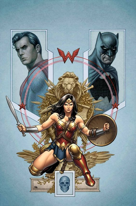 Trinity #2 variant cover - Wonder Woman, Superman and Batman by Frank Cho, colours by Laura Martin * More: