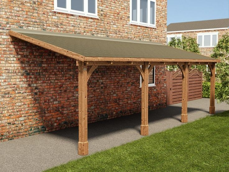 The Brontes Lean to Carport is an effective way of sheltering your vehicle from the weather. It is very quick to construct and features 145mm x 145mm support posts to ensure the whole structure is strong and robust. Every single piece of timber has been pressure treated to protect it from rot and insect infestation for up to 10 years. Why not make your carport more weather resistant by adding our felt or roofing shingles? - Brontes Lean to Carport W2.6m x D8.0m | Garages More
