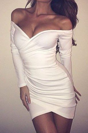 Solid Color Strapless Long-Sleeved Bodycon Dress – WOMENPOP