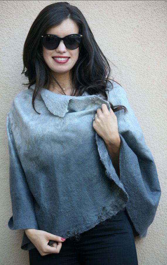 Felted eco-friendly elegant silver grey short cape от GBDesign
