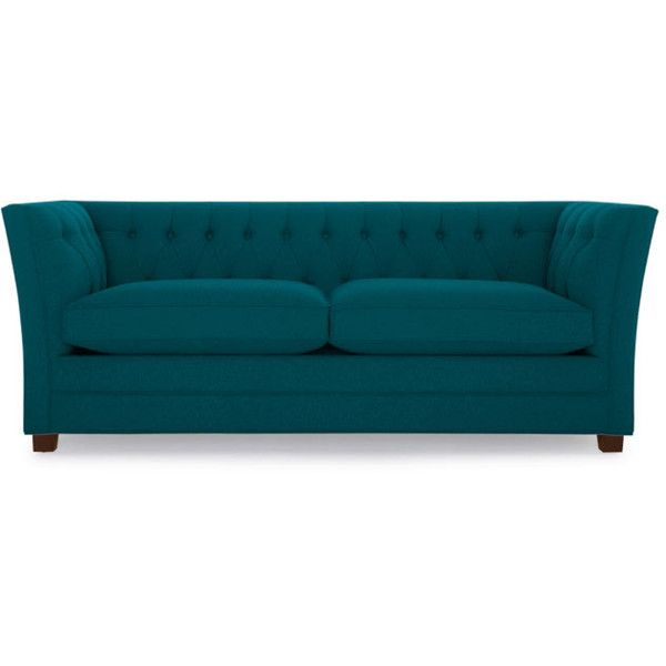 Joybird Kensington Mid Century Modern Blue Sleeper Sofa ($2,439) ❤ liked on Polyvore featuring home, furniture, sofas, blue, blue sleeper sofa, blue tufted sofa, mid century modern sofa, mid century sleeper sofa and tufted couch