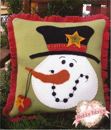 Top Hat Snowman Pillow: Bring a friend into your home with this darling pillow!  Pattern includes all instructions for the 14 x 14 wool applique project.