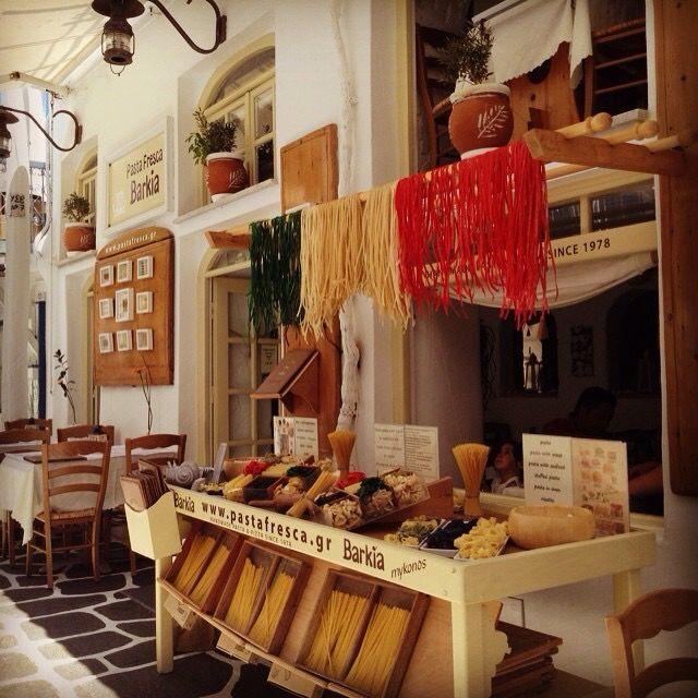 Restaurante Barkia Pasta fresca. Mykonos. Greece.