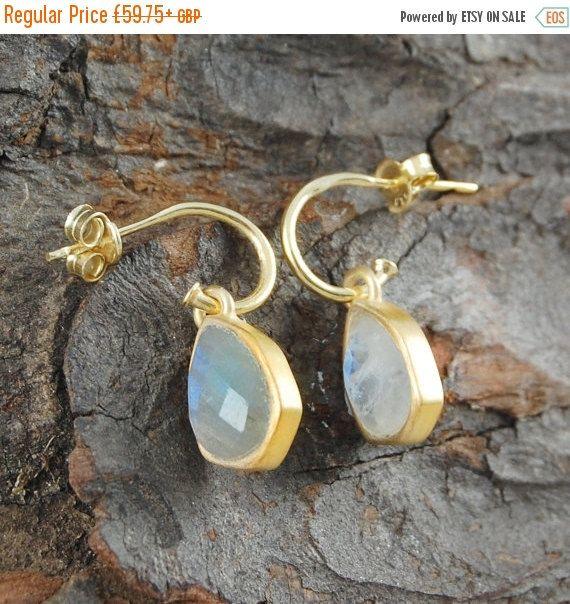 Labradorite Earring Moonstone Earrings by EmbersJewelleryShop