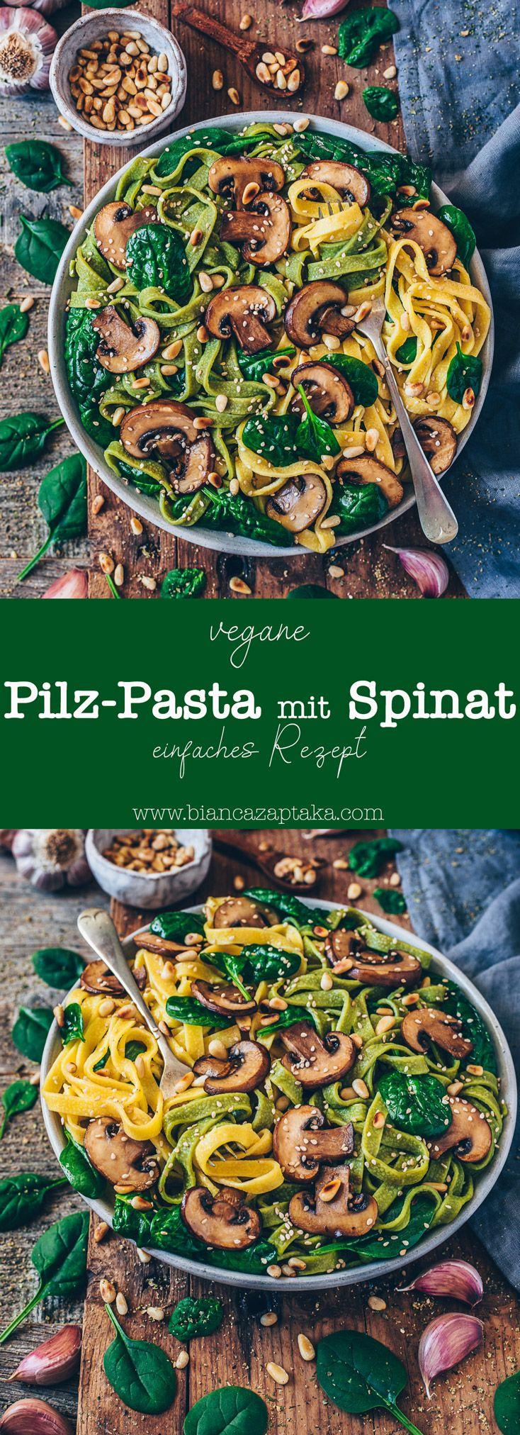 Einfache Pilz-Pasta mit Spinat (vegan)