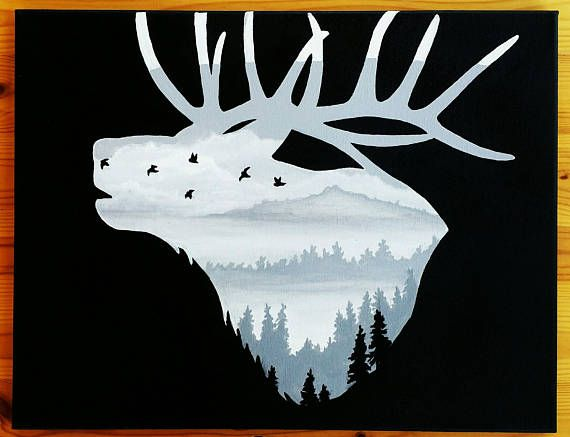 Hey, I found this really awesome Etsy listing at https://www.etsy.com/listing/520606510/elk-silhouette-painting-hunting-wall