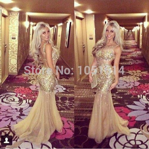 Atemberaubende Luxus Flügelärmeln Kristall Champagne Brautkleider Durchsichtig Mermaid Abend Party Kleider Für Mädchen //Price: $US $239.00 & FREE Shipping //     #abendkleider