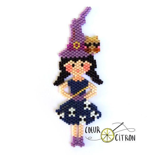 Sorcière en tissage Brick Stitch de perles Miyuki par Coeur Citron