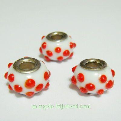 Margele sticla tip Murano, Pandora, alb cu rosu, 14x10mm