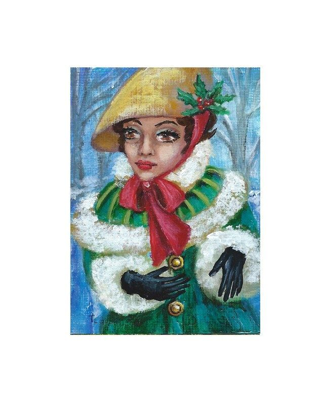 ACEO Original ATC Acrylic Painting Vintage Christmas Holiday Lady SFA [Not a Print] Ohio Gulat by TammyGulatArt on Etsy https://www.etsy.com/listing/478351004/aceo-original-atc-acrylic-painting