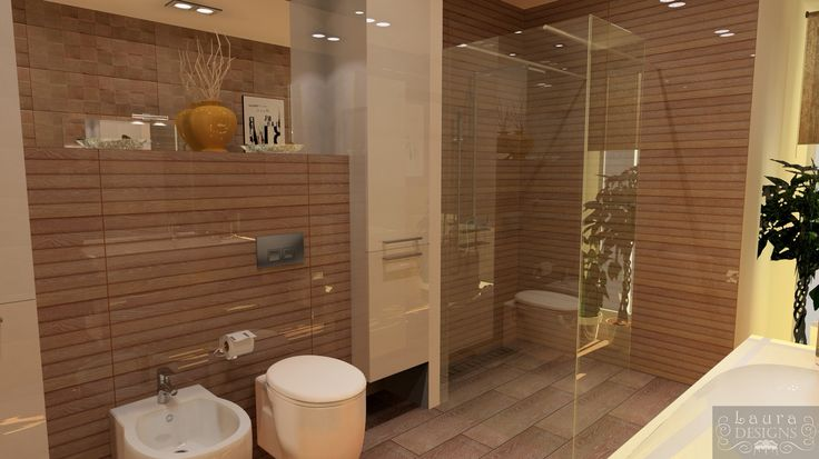 3D plan of bathroom with Porcelanosa ceramic by Laura Designs