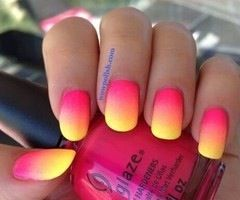 Summer maniYellow Nails, Nailart, Nails Design, Spring Nails, Pink Nails, Summer Nails Art, Gradient Nails, Nails Polish, Nail Art