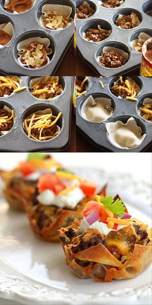 """Taco Cupcakes {Vote for """"Best Bites - Taco"""" in this year's #TheMunchies here: www.tablespoon.co..."""