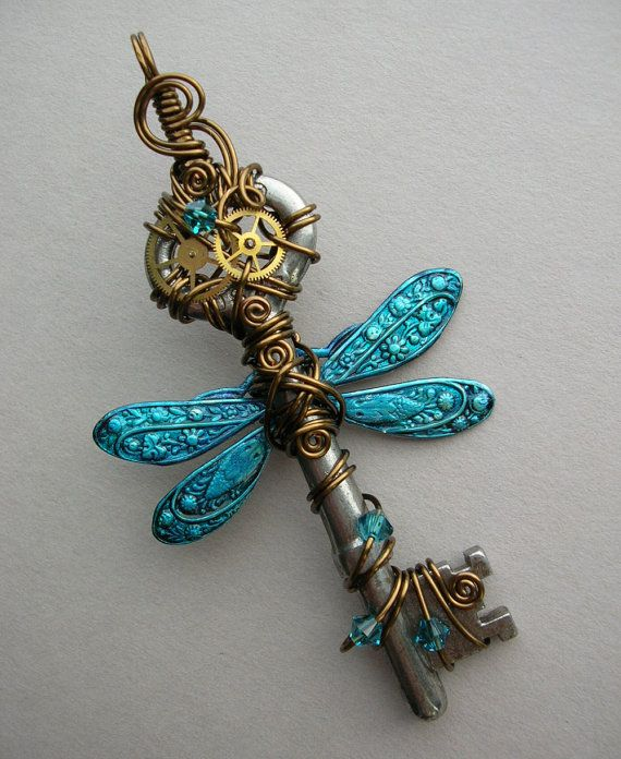 wire wrapped insect s | Dragonfly Wire Wrapped Clockwork Key Pendant -- Blue Steampunk ...