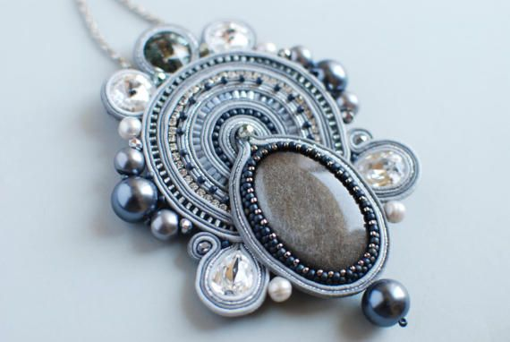 Check out this item in my Etsy shop https://www.etsy.com/listing/507728624/soutache-pendant-gray-and-silver-pendant