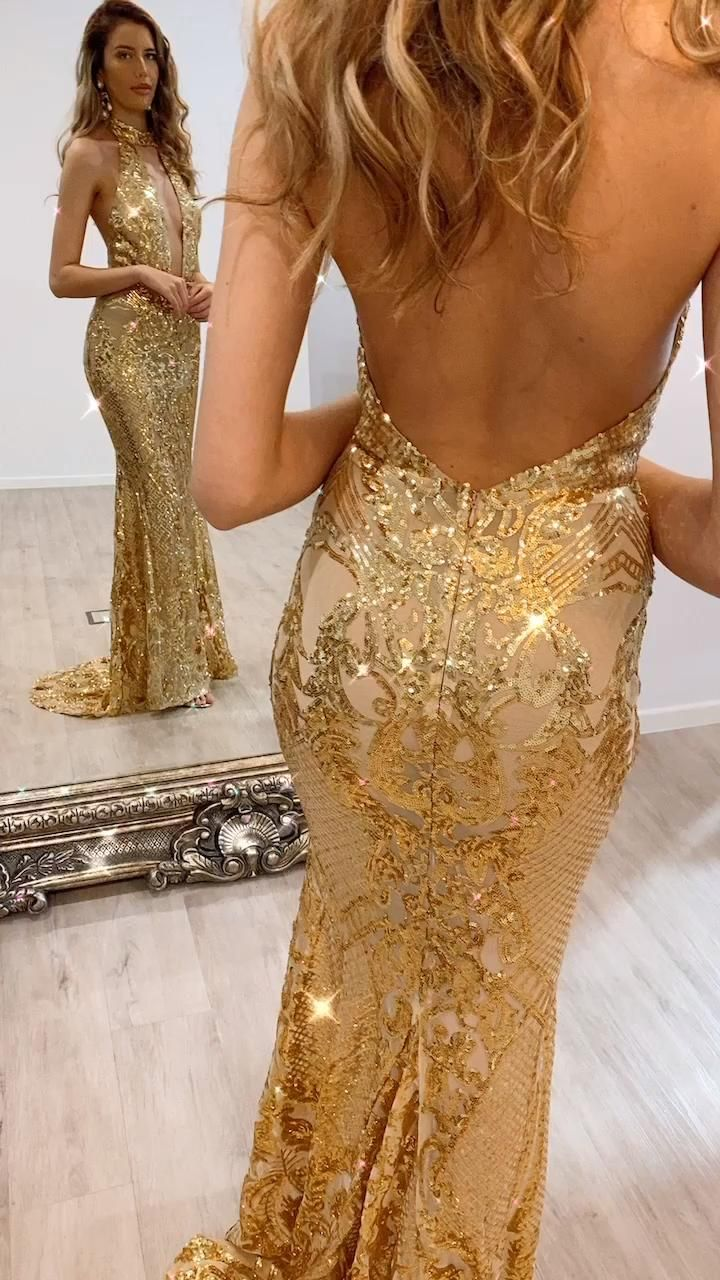Nicola Gold Video Video Backless Dress Formal Sequin Gown Fashion [ 1280 x 720 Pixel ]