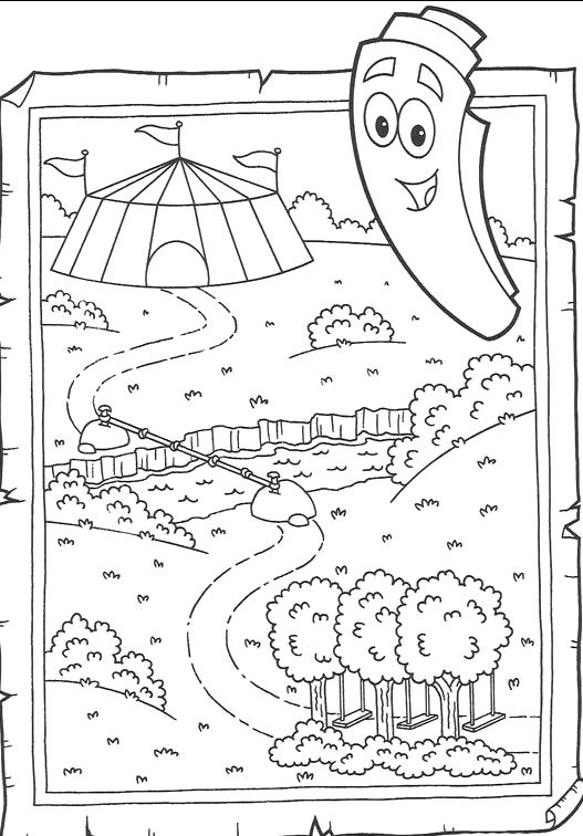 coloring pages dora map - photo#5