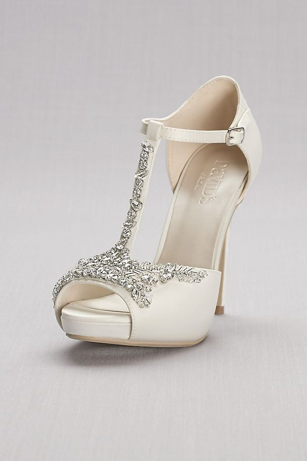 Crystal T Strap Satin P Toe Platform Heels David S Bridal Wedding Shoes For Your Glamorous