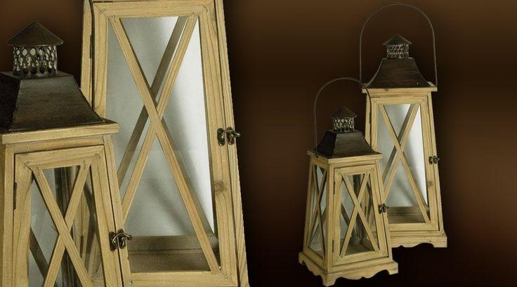 Deux grandes lanternes en bois style nautique (70 cm) - 109E - livraison: 8 a 15 jours