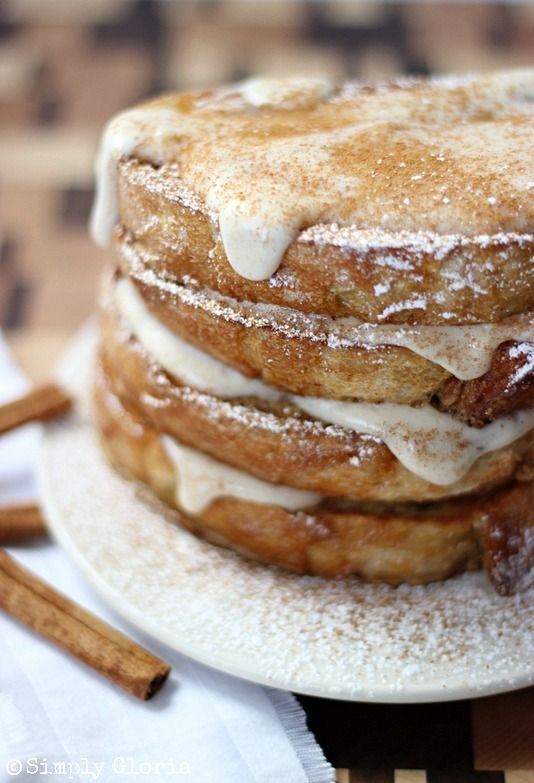 Cinnamon French Toast with Cream Cheese Glaze by SimplyGloria.com #frenchtoast