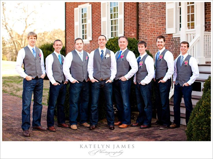 groom and groomsmen in JEANS and vests :) I like this! That way they don't get hot wearing 50 layers of clothes and its so simple!  But ties in a pretty green ☺