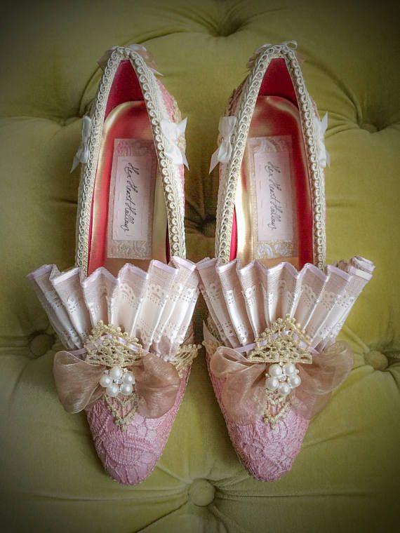 Roze parel Lace hakken Marie Antoinette schoenen Rococo barok