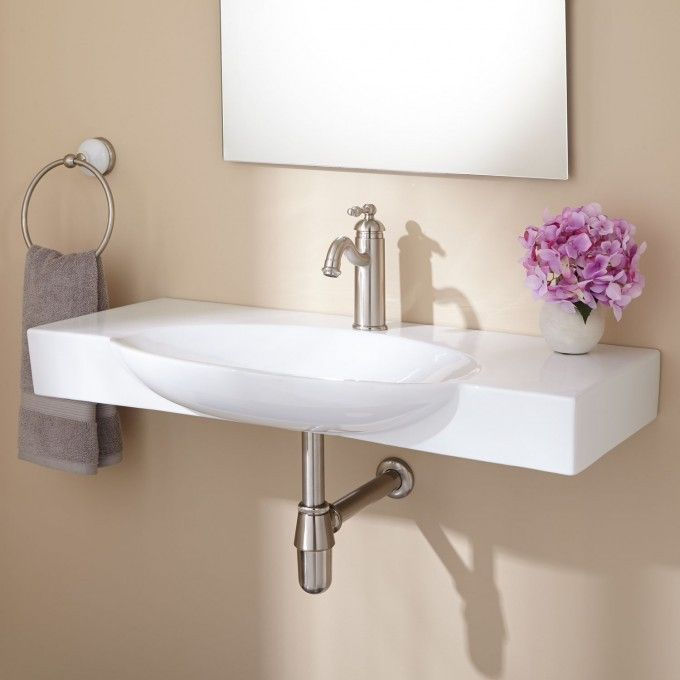 Hiott Wall-Mount Bathroom Sink - White
