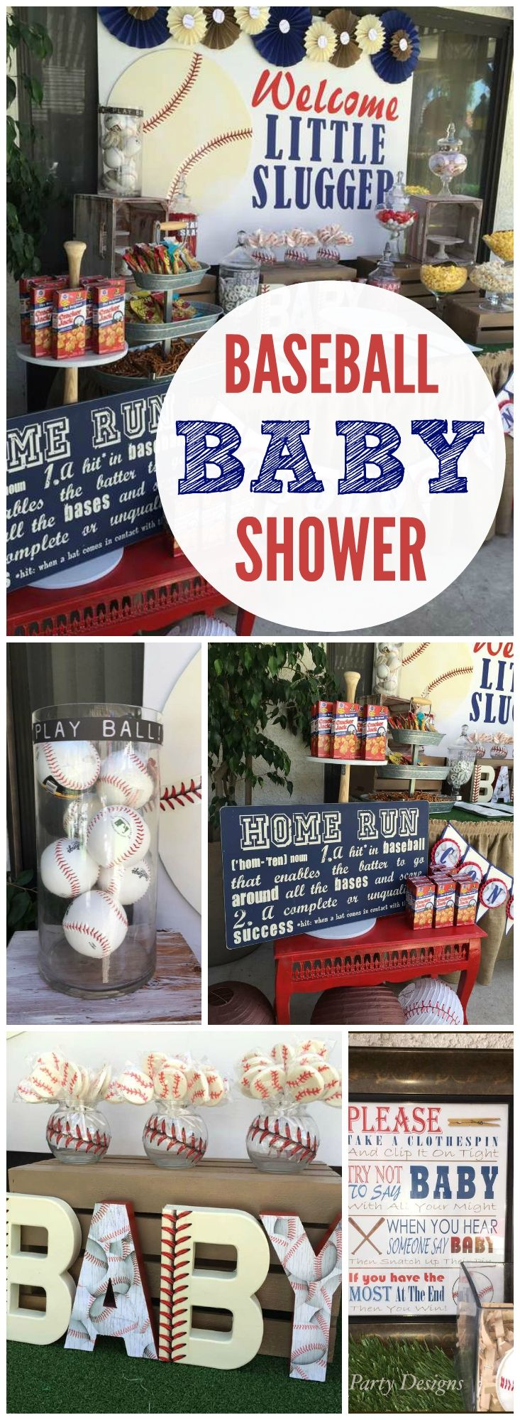 A baby shower for a fun baseball loving couple preparing for their little slugger!  See more party ideas at CatchMyParty.com!