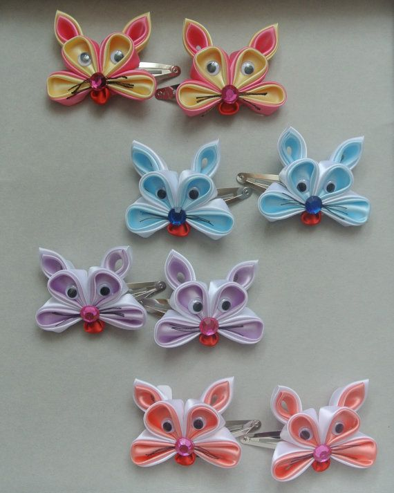 Pair of Handmade Bunny hair clips made in the by BeautifulRibbon
