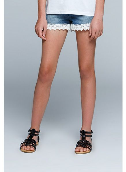 Urban Angel Lace Trim Denim Shorts
