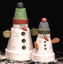 Flowerpot, clay pot, plant pot, terracotta pot snowmen.  DIY painted using DecoArt paints (available in the UK from Country Love Crafts).  Project instructions available from DecoArt.