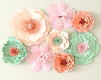 Set of 3 giant paper flowers and leaves in your choice of colors.  Beautiful and elegant paper flower backdrop. Perfect for weddings, events, showers, birthdays and home decor. Paper flower backdrop includes 3 different paper flower styles and leaves. Each flower is approximately 16-18 in diameter. Send a message with your color choice upon checkout.  I welcome custom orders