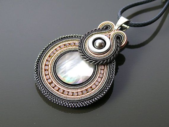 Gray pink Soutache necklace with Mother of pearl and Hematite.