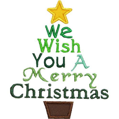 Wish You Merry Christmas Tree Applique Design