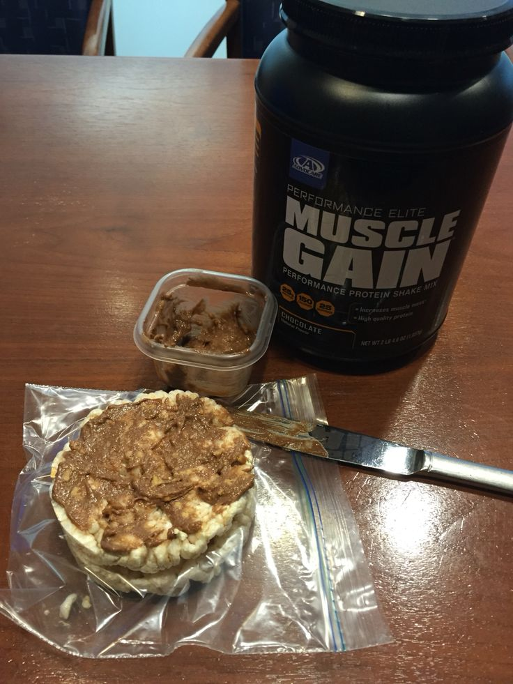 One of my favorite snacks. Loaded with protein.  1 tbls of cashew butter mixed with 1/2 scoop of Muscle Gain (I like chocolate). Add a splash of water to get it creamy.  Then I spread it on 1 or 2 SALT FREE rice cakes.