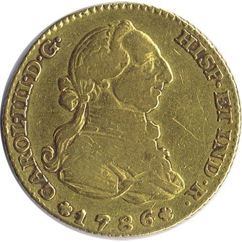 Moneda de oro 2 escudos Carlos III 1786 Madrid DV.