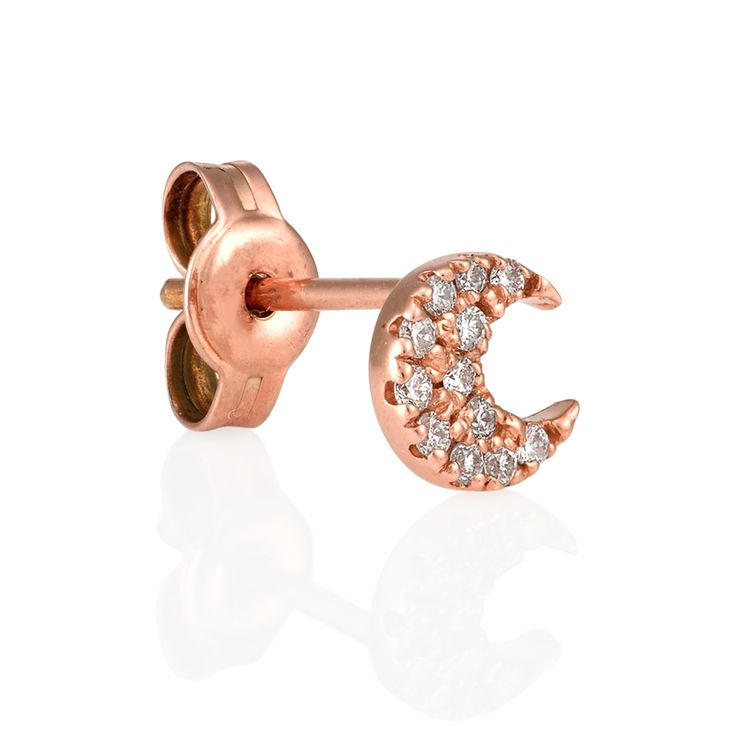 """18kt Rose Gold Moon Crescent with Diamonds  """"When the moon is in the Seventh House and Jupiter aligns with Mars Then peace will guide the planets. And love will steer the stars."""" Add the sparkling moon crescent to your collection to create the ultimate ear candy. Sold individually. www.finejewels.com.au #diamondmoon#diamondcrescent  #18ktdiamondearrings#rosegold #diamondearrings#luxuryliving"""