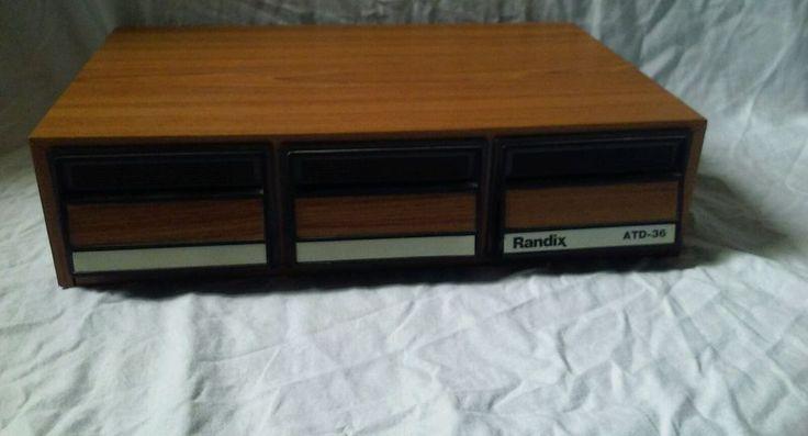 Vintage Randix ATD-36 Cassette Tape Holder Box Wood Grain Black Holds 36 Tapes  #RandixATD-36 #CassetteTapeStorageCase